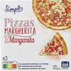 3 Pizzas Margherita à la préparation alimentaire au fromage. - Produkt