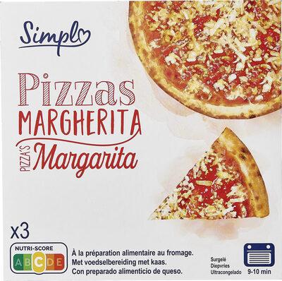 3 Pizzas Margherita à la préparation alimentaire au fromage. - Product - fr