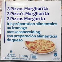 3 Pizzas Margherita à la préparation alimentaire au fromage. - Produit - fr