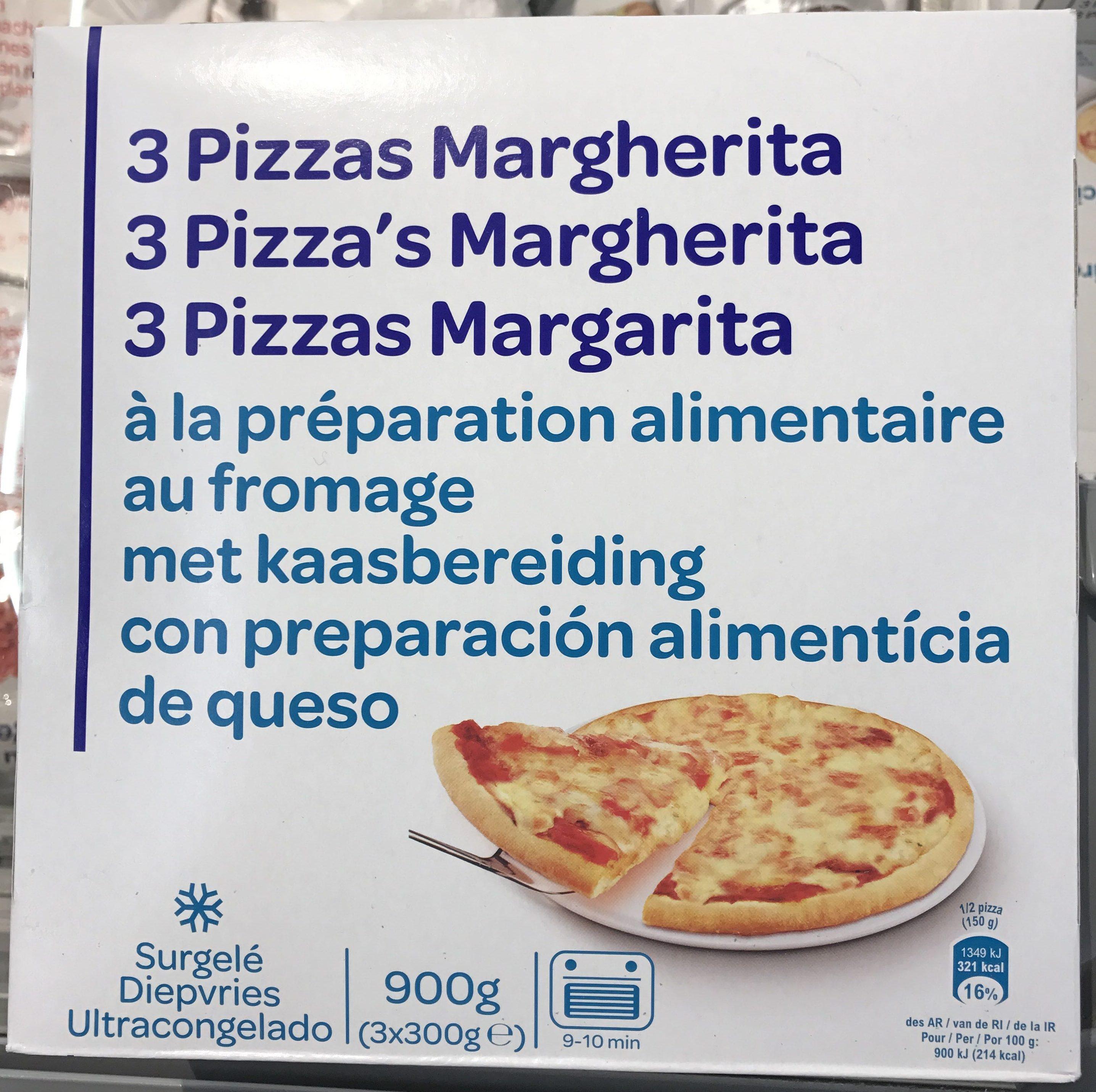 3 Pizzas Margherita à la préparation alimentaire au fromage. - Producto