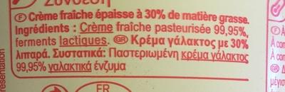 Crème fraiche épaisse - Ingredienti - fr