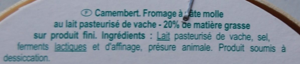 Camembert (21 % MG) - Ingrédients