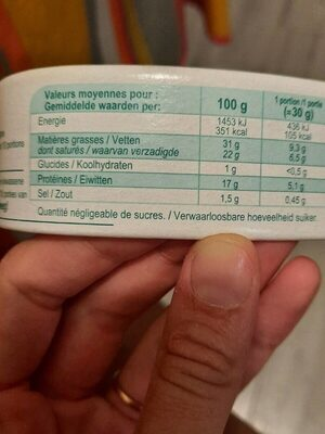 Fromage double crème - Nutrition facts - fr