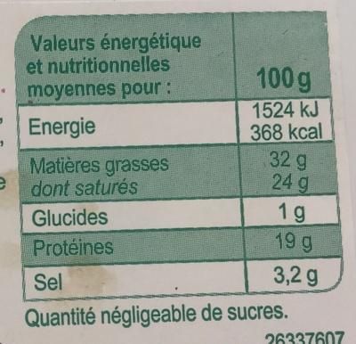 Roquefort - Voedingswaarden - fr