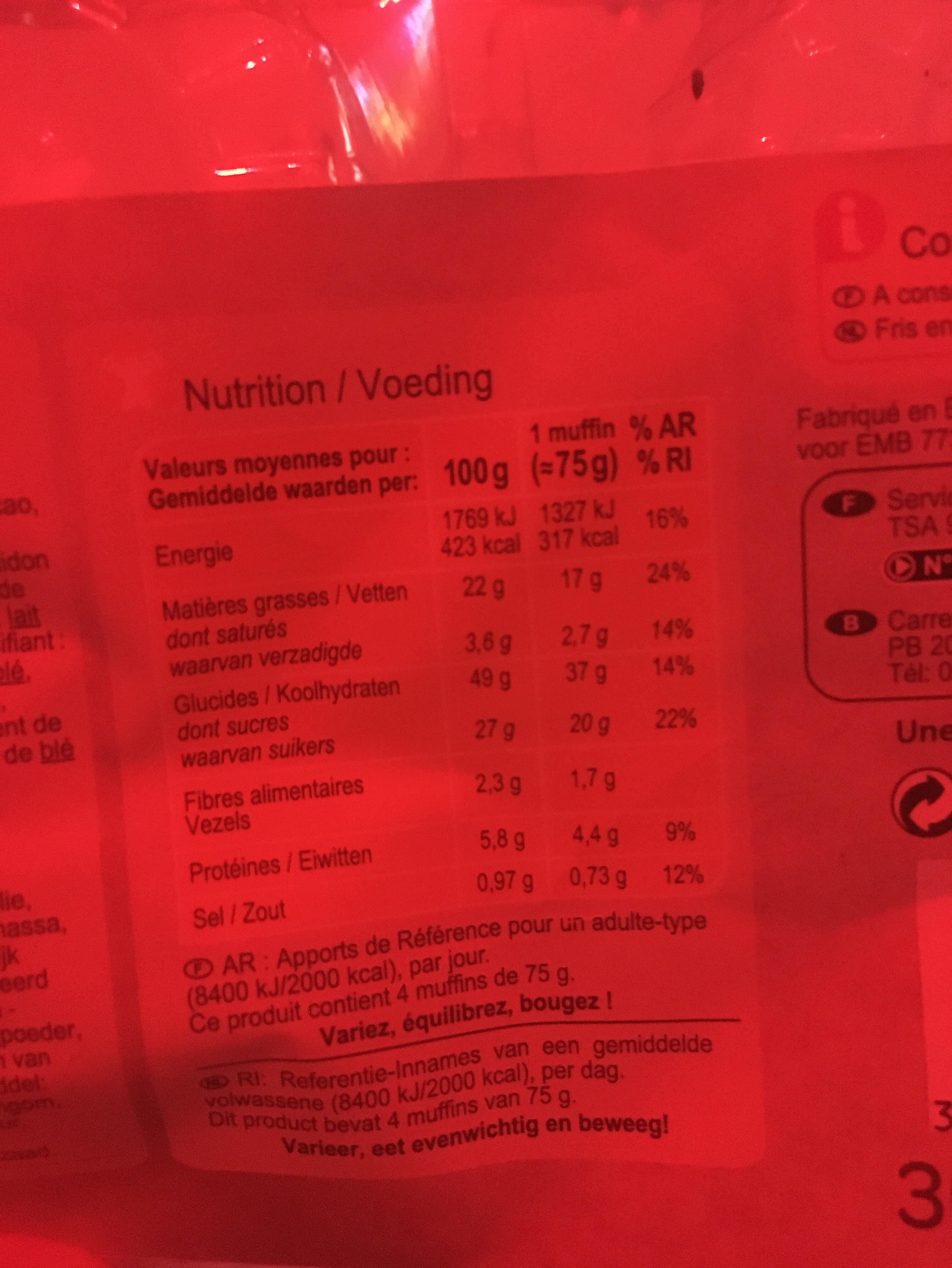Carrefour Disc. Muffins Pepites - Ingredienti - fr