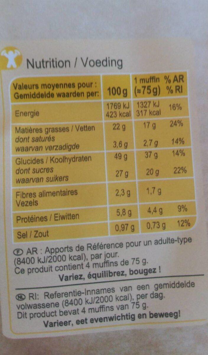 Carrefour Disc. Muffins Pepites - Valori nutrizionali - fr