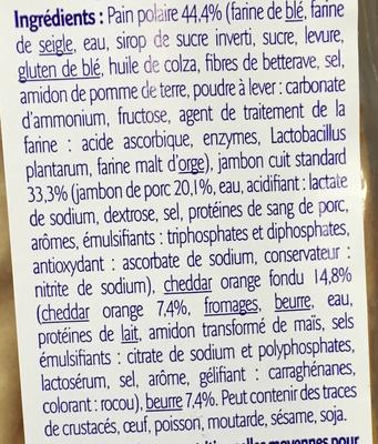 Sandwich Jambon Cheddar Pain Suédois - Ingrédients