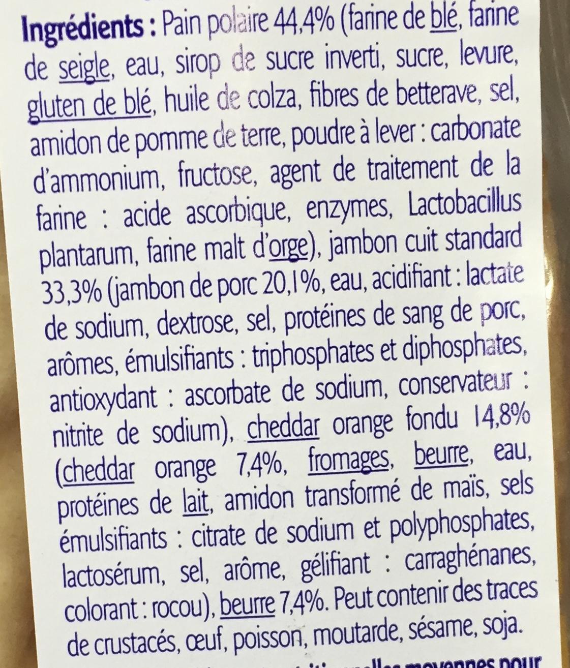 Sandwich Jambon Cheddar Pain Suédois - Ingredients