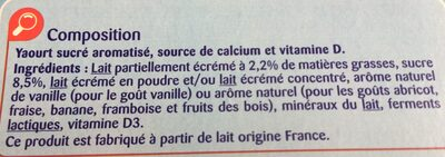 Yaourts Aromatisés Carrefour Kids - Ingredients