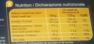 Atún de aleta amarilla - Informations nutritionnelles - fr