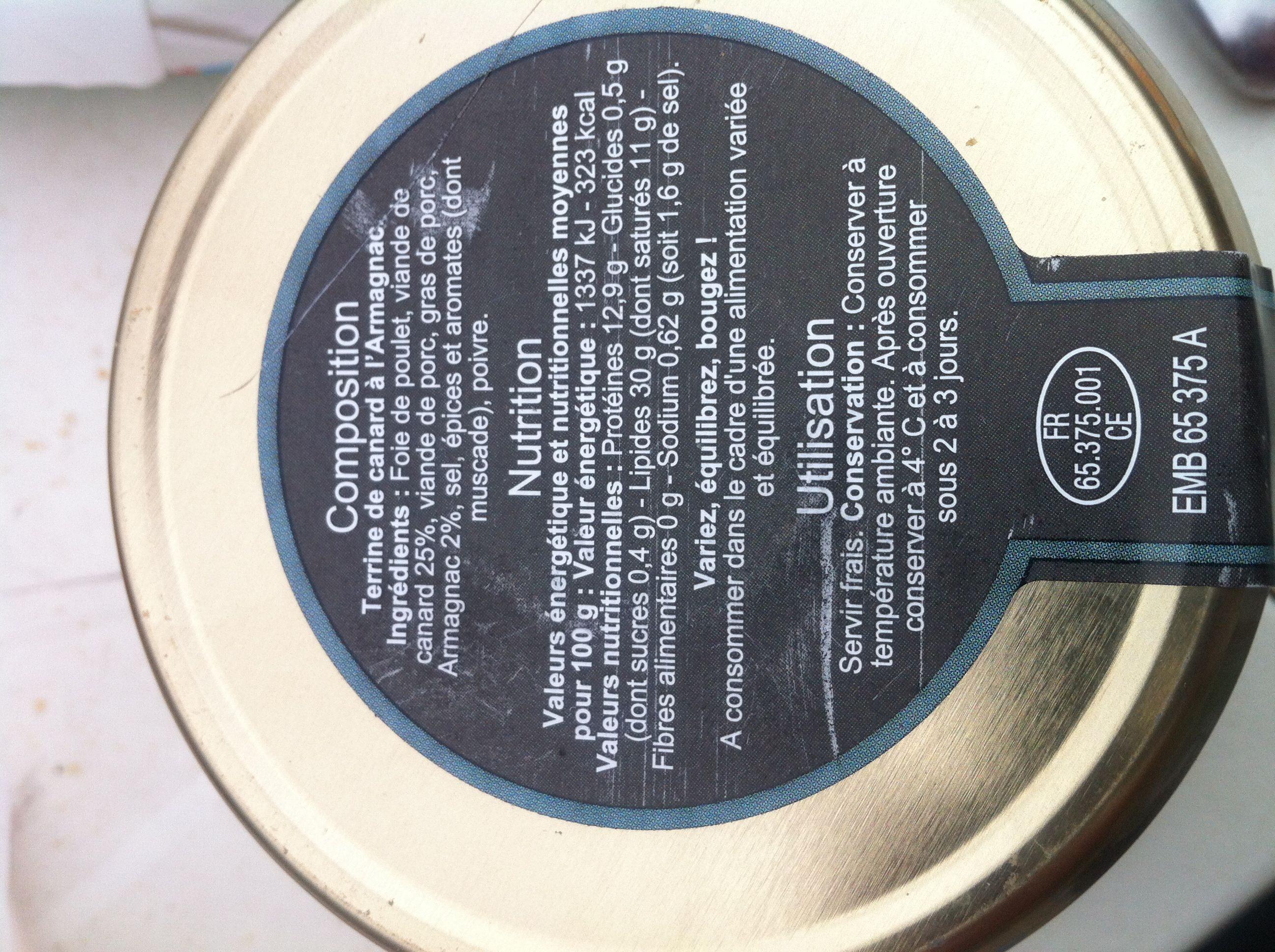 Terrine de canard à l'armagnac - Informations nutritionnelles - fr
