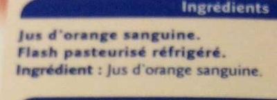 Orange sanguine, 100 % pur fruit pressé - Ingrédients