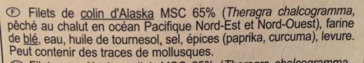 Les p'tits panés 15 colins d'alaska - Ingredients