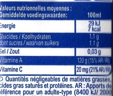 Multifruits, boisson - Valori nutrizionali - fr