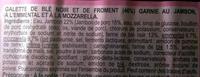 Galette de blé noir jambon emmental mozzarella - Ingrédients - fr