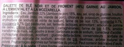 Galette de blé noir jambon emmental mozzarella - Ingrédients