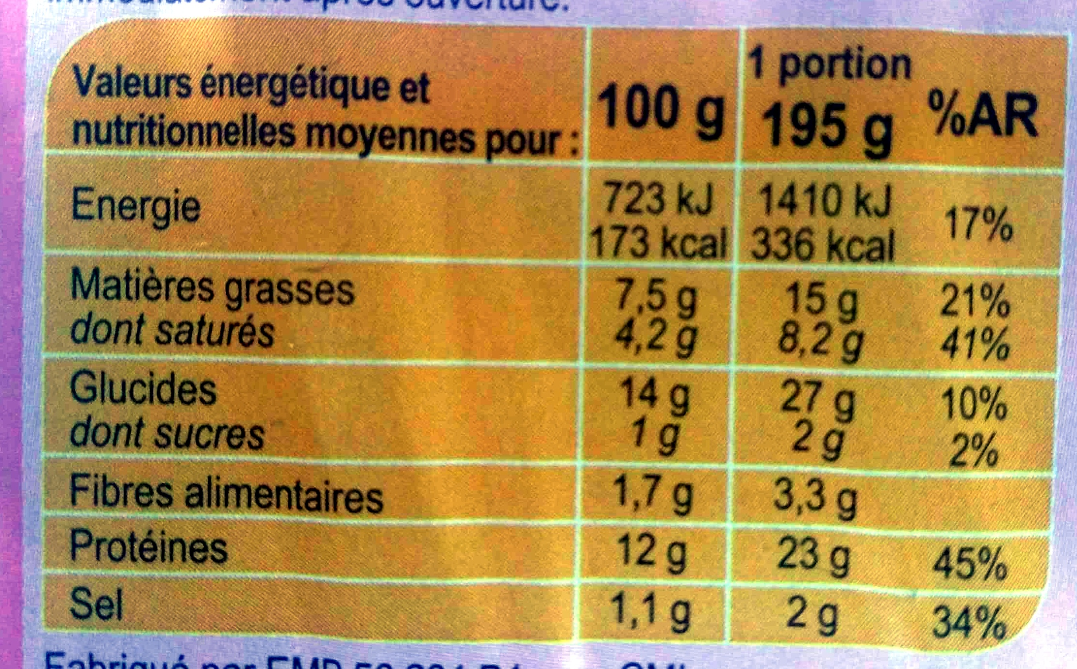 Galette de blé noir jambon emmental mozzarella - Informations nutritionnelles - fr