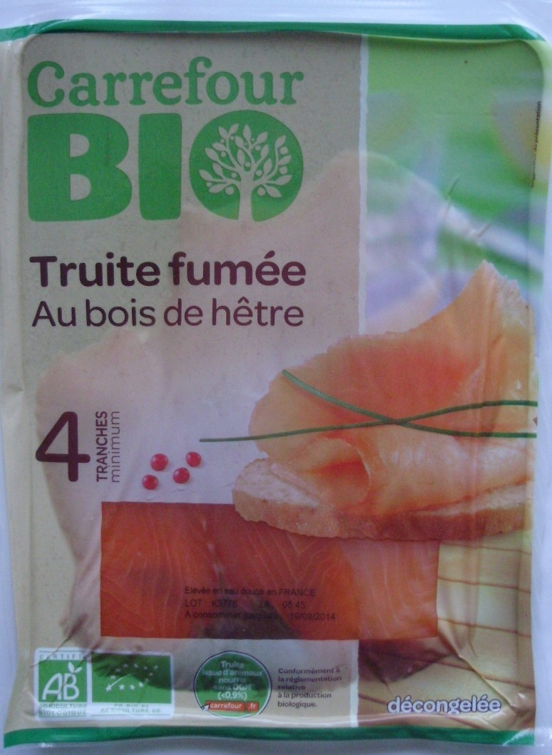truite fum e au bois de h tre carrefour bio 120 g. Black Bedroom Furniture Sets. Home Design Ideas
