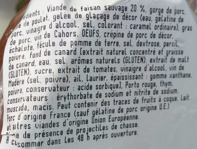 Terrine de faisan sauvage - Ingredients - fr