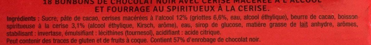 Griottes chocolat noir cerises spiritueux - Ingrédients