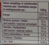 Assortiment de  chocolats lait, noir, blanc - Informations nutritionnelles - fr