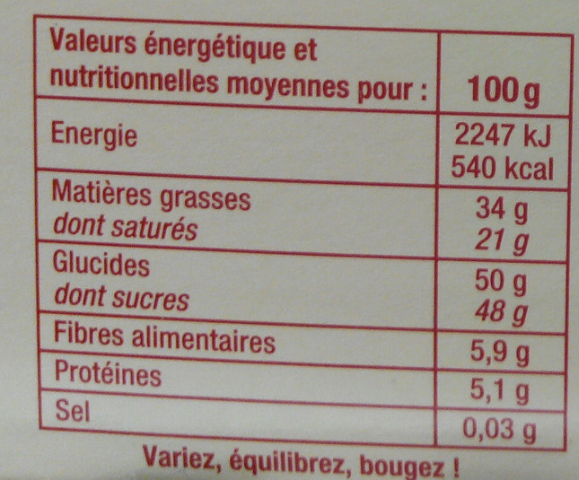 Assortiment de Chocolats Noirs - Nutrition facts - fr
