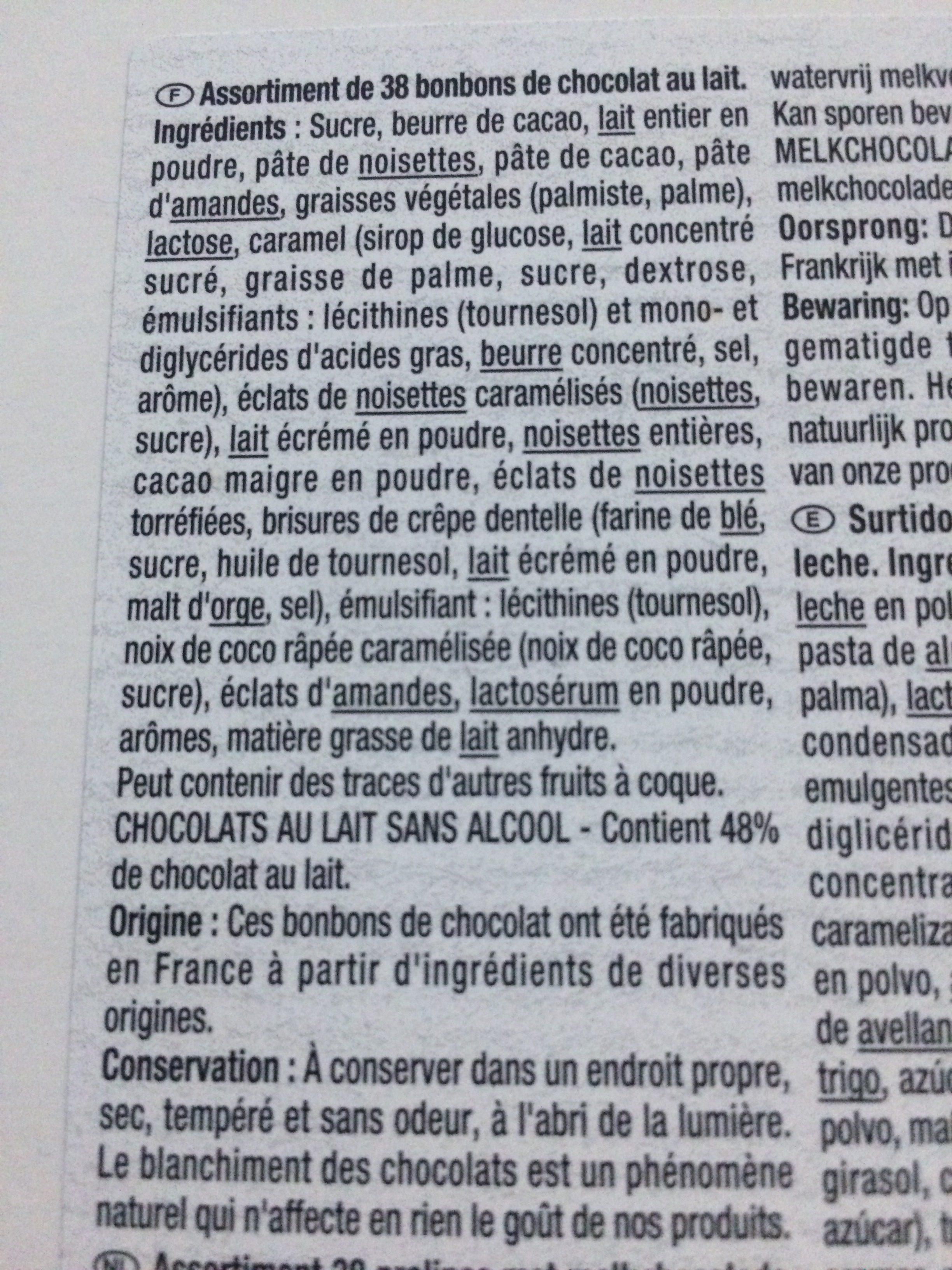 Assortiment de chocolats au lait - Ingredientes - fr