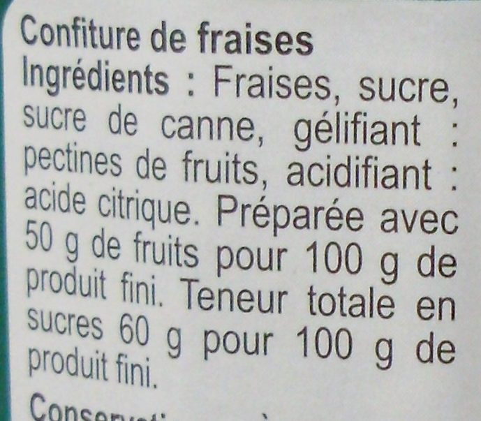 Confiture Fraise - Ingredients