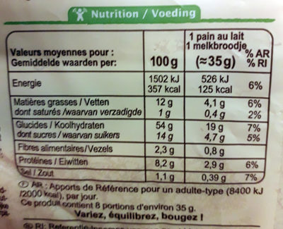 8 pains au lait nature - Informations nutritionnelles - fr