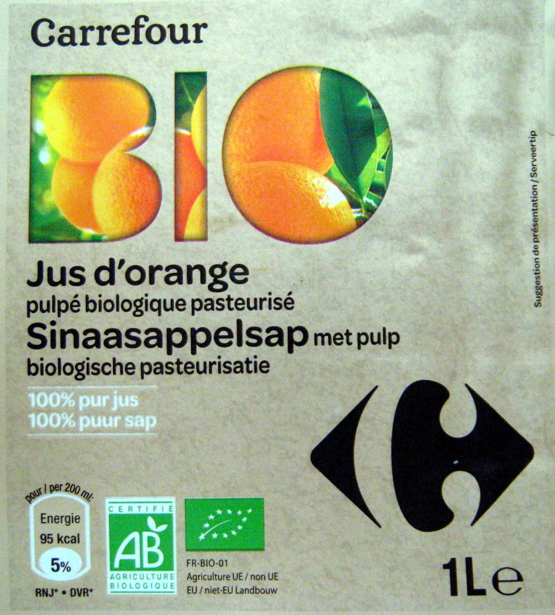 Jus d'orange pulpé biologique pasteurisé - Product - fr