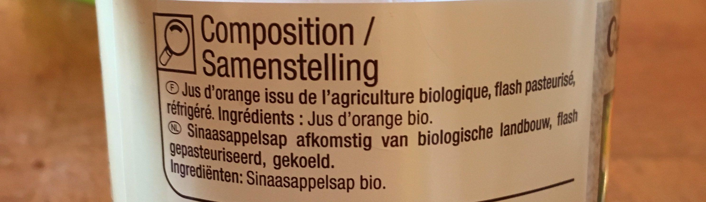 Jus d'orange pulpé biologique pasteurisé - Ingrediënten