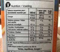 Orange 100 % pur fruit pressé (Sans Pulpe) - Informations nutritionnelles