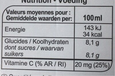 Orange 100 % pur fruit pressé (Sans Pulpe) - Informations nutritionnelles - fr
