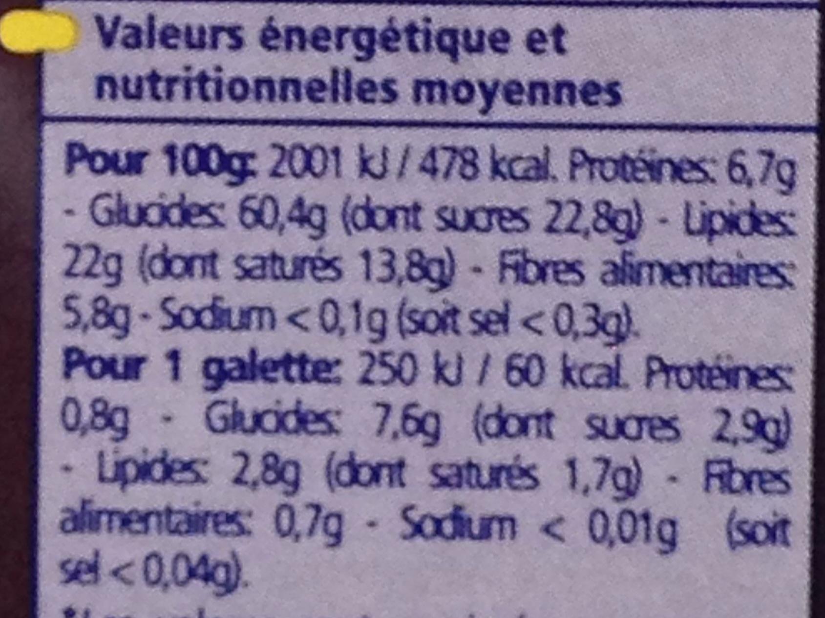 Bio Galettes de Riz nappées de Chocolat Noir - Valori nutrizionali - fr
