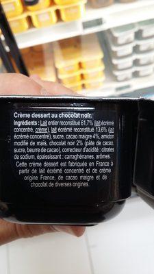 Crème Dessert au Chocolat Noir - Ingredients