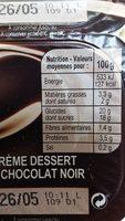 Crème Dessert au Chocolat Noir - Nutrition facts