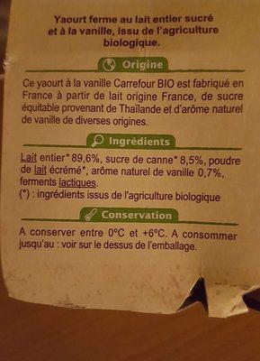 Yaourt bio au lait entier Vanille - 成分 - fr