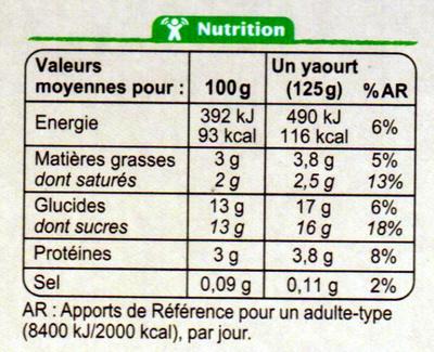 Yaourt bio au lait entier Vanille - 营养成分 - fr