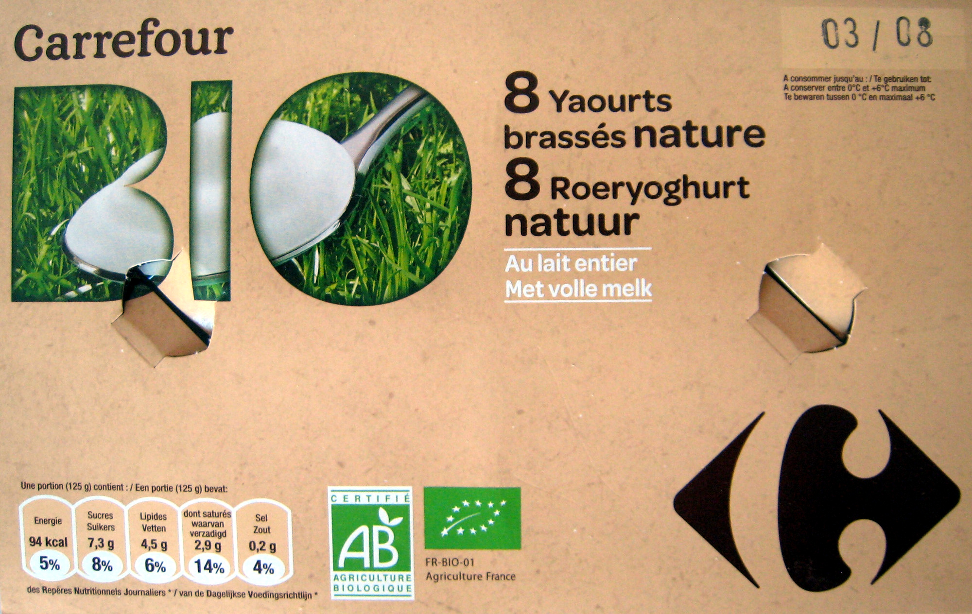8 Yaourts brassés nature (Au lait entier) - Product - fr