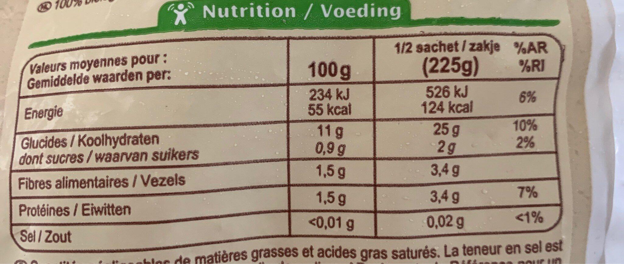Purée de pommes de terre - Informations nutritionnelles - fr