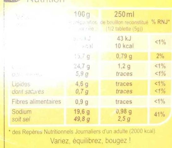 Bouillon Goût Volaille - Informations nutritionnelles - fr