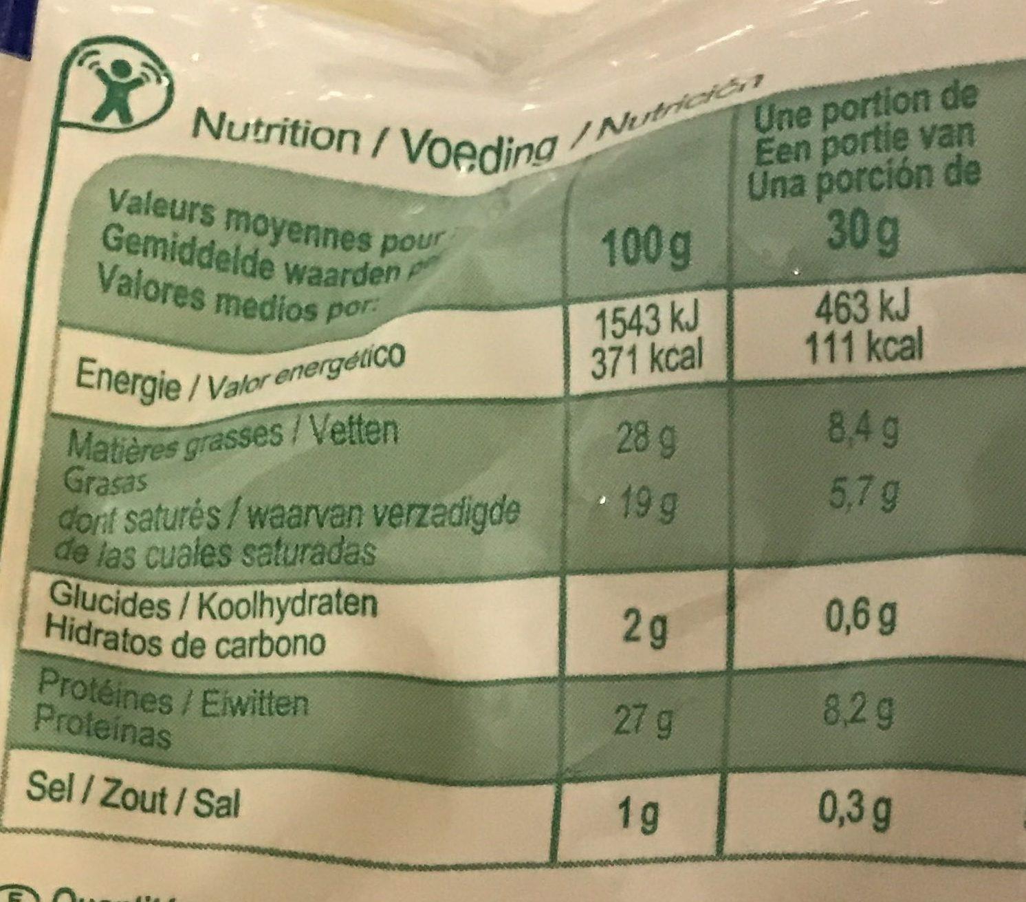 Emmental râpé (27 % MG) - Informations nutritionnelles - fr