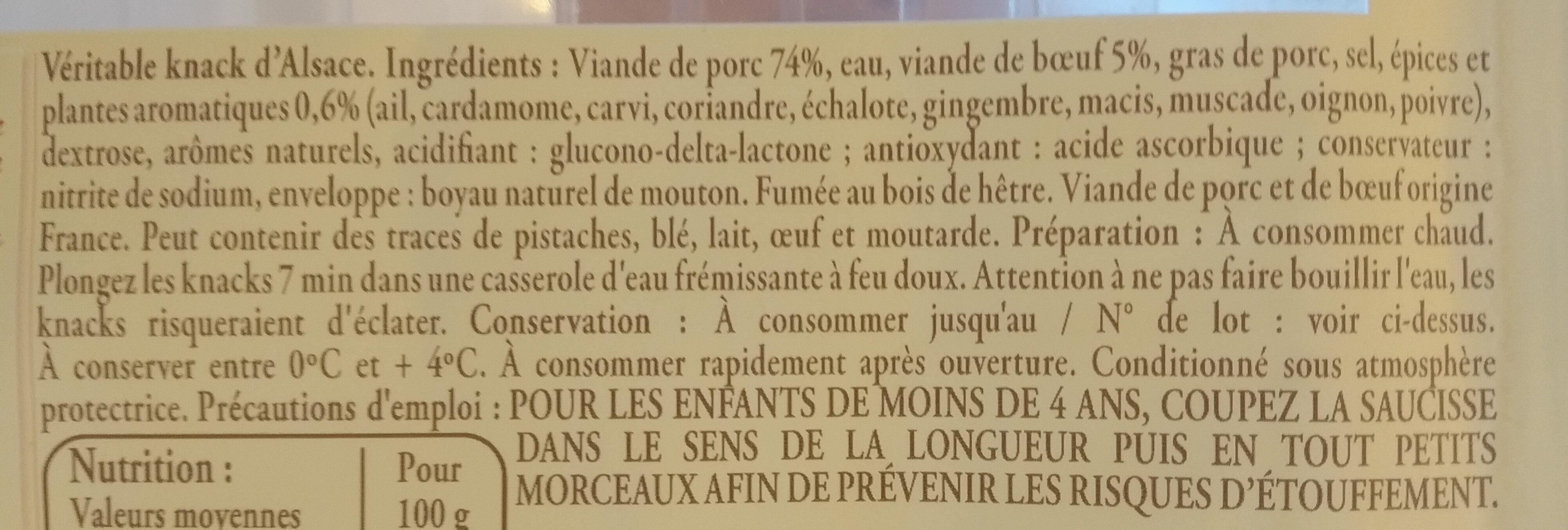4 Véritables Knacks d'Alsace - Ingrédients - fr