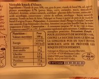 4 Véritables Knacks d'Alsace - Nutrition facts