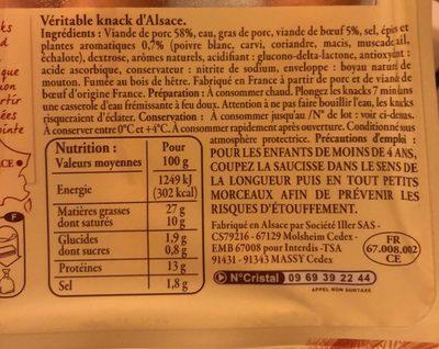 4 Véritables Knacks d'Alsace - Información nutricional