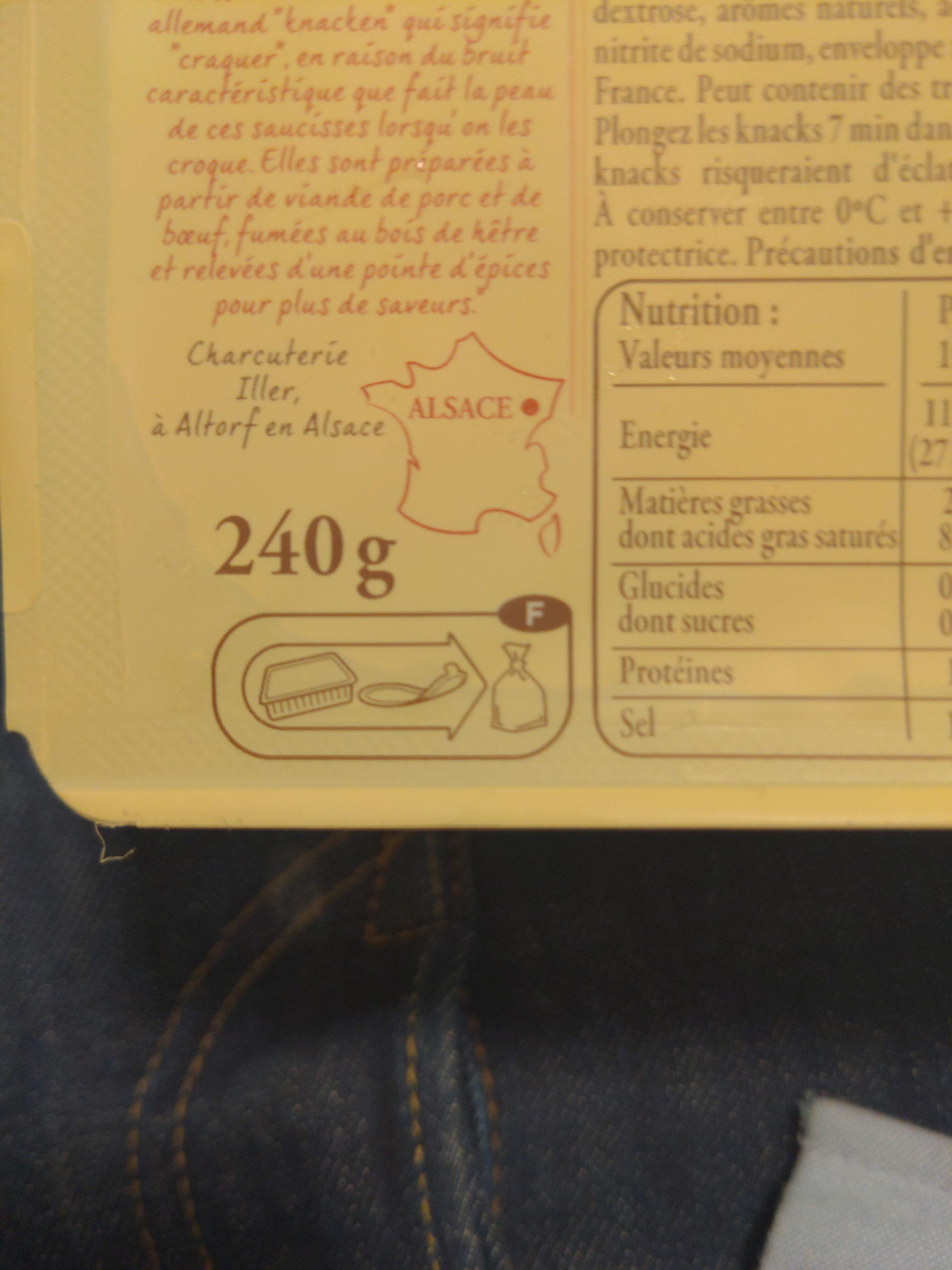4 Véritables Knacks d'Alsace - Instruction de recyclage et/ou informations d'emballage - fr