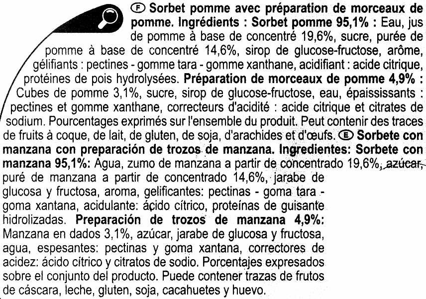 Sorbete de manzana - Ingredients
