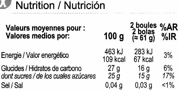 Sorbete de manzana - Informació nutricional