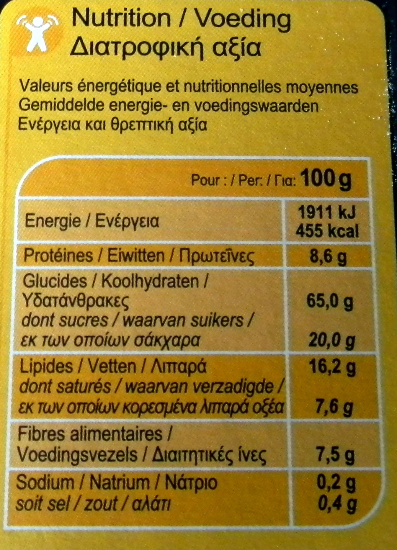 Crunchy chocolate intenso - Informations nutritionnelles - fr