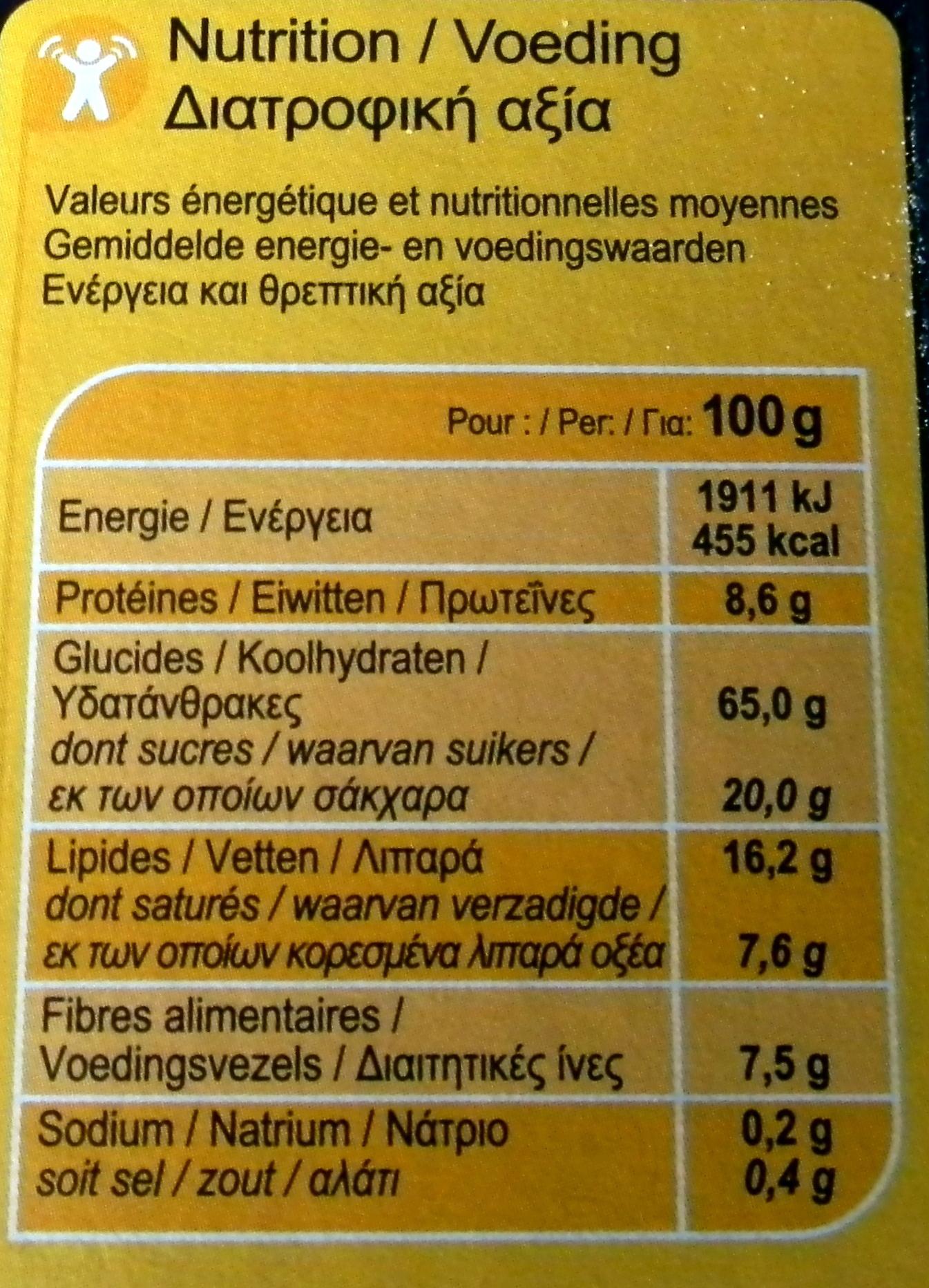 Crunchy chocolate intenso - Información nutricional - fr